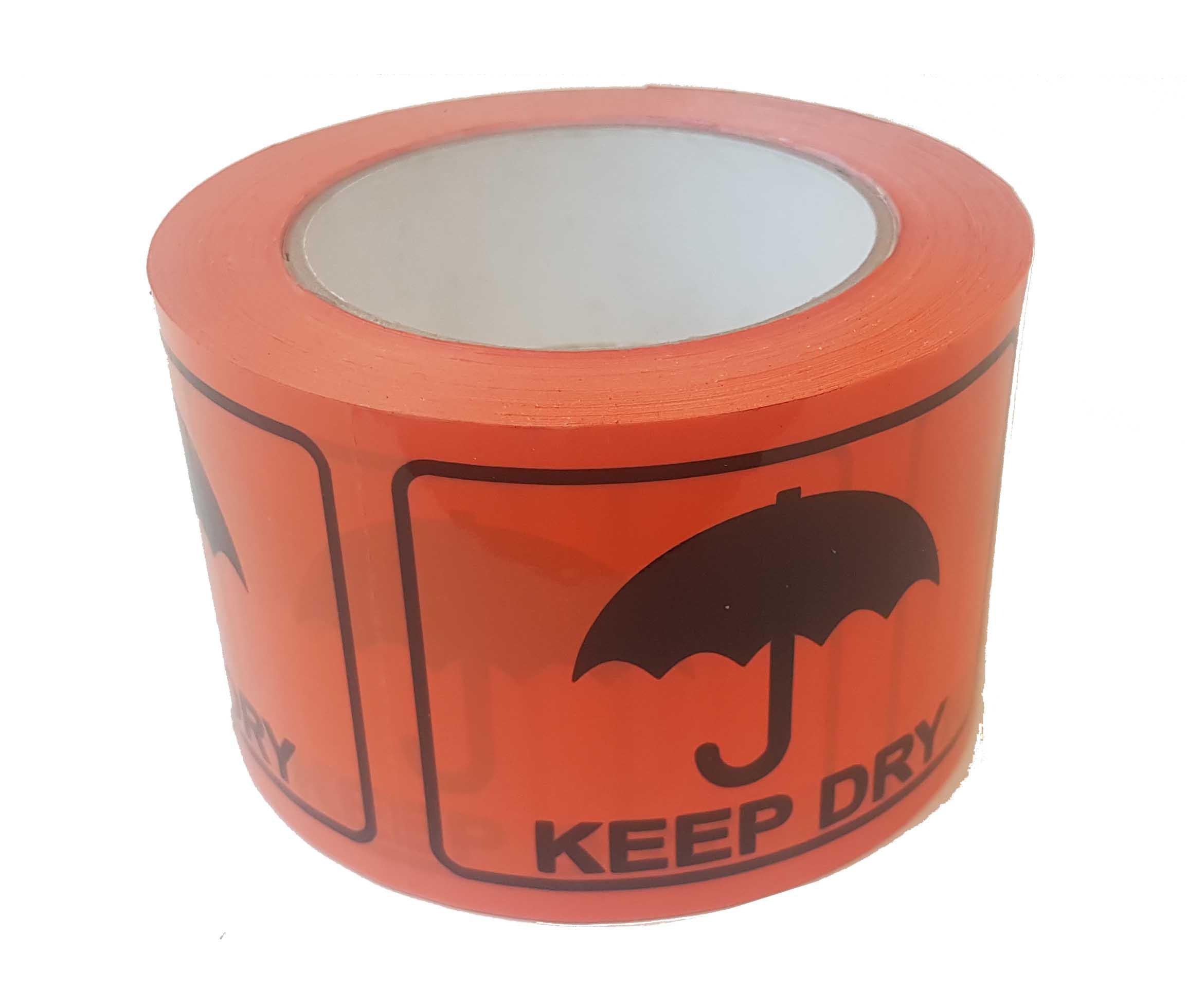 72mmx100mm Keep Dry Labels Blk On Fluro Orange 500